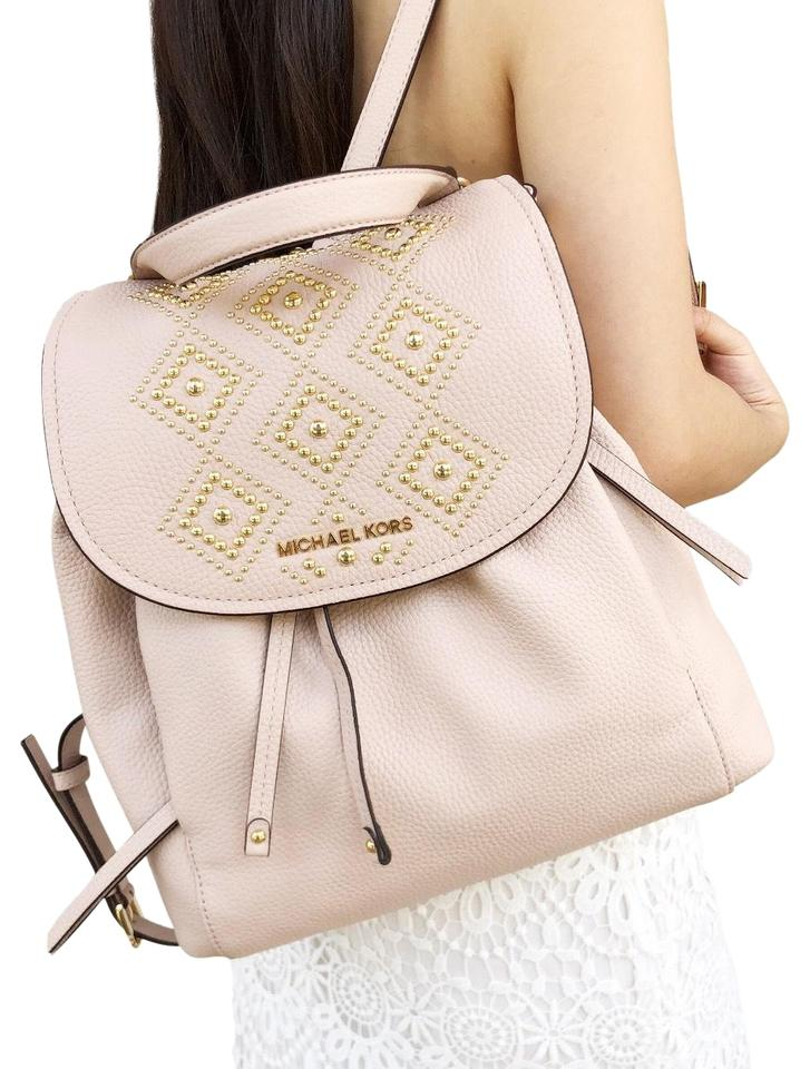 fe9ecd1bd326 Michael Kors Riley Large Gold Studded Drawstring Ballet Pink Leather ...