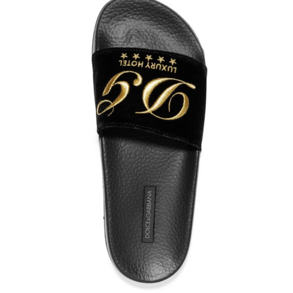 17d2985d294 Dolce Gabbana Black Dolce   Gabbana Embroidered Velvet Slides Sandals