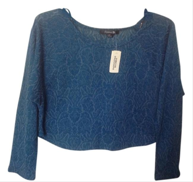 Forever 21 Lace See Thru Longsleeve Top Teal