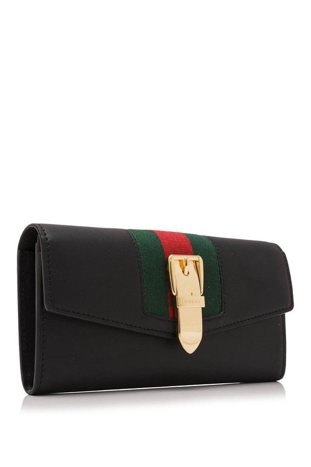 9dcdb64e639 Gucci Gucci Sylvie Leather Continental Wallet Black Fabric Leather Image 3.  1234