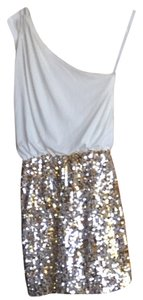 Not Rated short dress White Top Gold Sequin Bottom on Tradesy