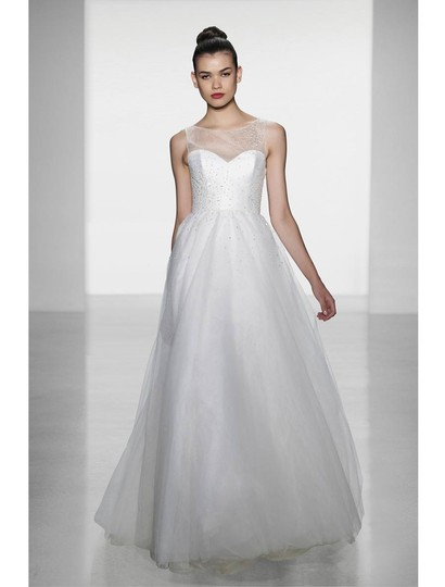 Amsale Silk White (Diamond White) Beaded Tulle Erie A653 Formal Dress Size 8 (M)