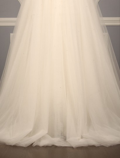 Amsale Silk White (Diamond White) Beaded Tulle Erie A653 Formal Wedding Dress Size 8 (M)