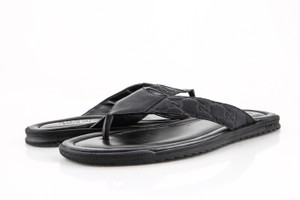 Gucci * Black Rubberized Guccissima Leather Thong Sandal Shoes