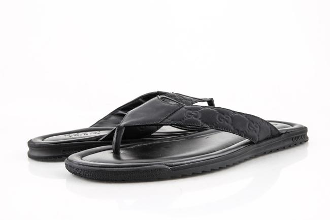 Item - Black Rubberized ssima Leather Thong Sandal Shoes