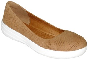 FitFlop New Sneakers Sporty Ballerina Perforated Leather Size 8.5 Tan Brown Athletic