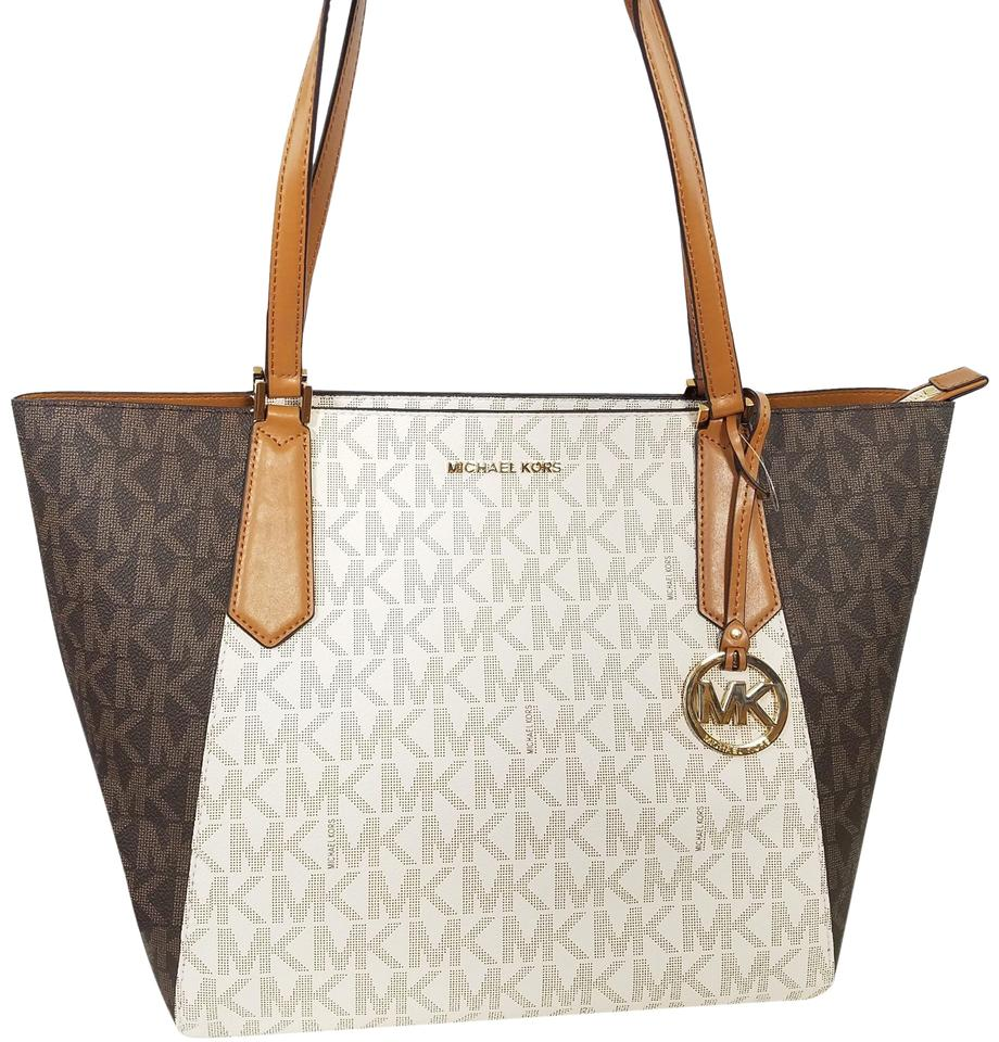 25959c04ebb6 Michael Kors Shoulder Bag New Mk Kimberly Large Bonded Handbag Brown Acorn  Vanilla Tote