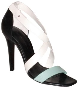 CoSTUME NATIONAL New Lima Tricolor Strappy Size 36.5 Aqua White Black Sandals