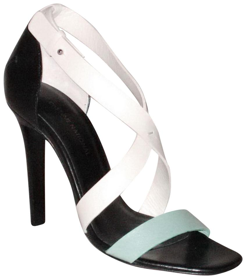 a3dcf7bd6dc28 CoSTUME NATIONAL New Lima Tricolor Strappy Size 37.5 Aqua White Black  Sandals ...