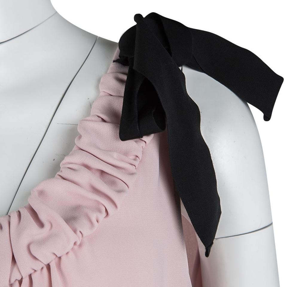 Red Pink Bow Short Sleeveless Rose Detail Contrast Valentino Tea BHqgrwAB 3a3a171693a