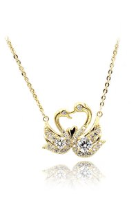 Ocean Fashion Gold Swan love crystal necklace
