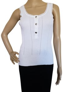 Chanel Hardware Knit Embroidered Interlocking Cc Sleeveless Top White, Silver