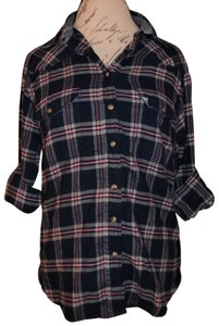 JACHS Boyfriend Style Roll-up Sleeves Button Down Shirt Navy Blue, White, Red, Gray