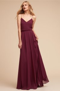 Jenny Yoo Burgundy Luxe Chiffon Inesse In Sangria Formal Bridesmaid/Mob Dress Size 2 (XS)