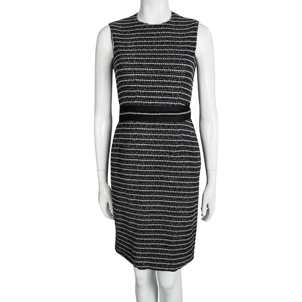 17598dbb095 Carolina Herrera Navy Blue Textured Sleeveless S Mid-length Short ...