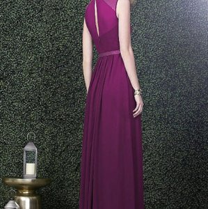 Purple Chiffon Soft Flowing Majestic Modern Bridesmaid/Mob Dress Size 8 (M)