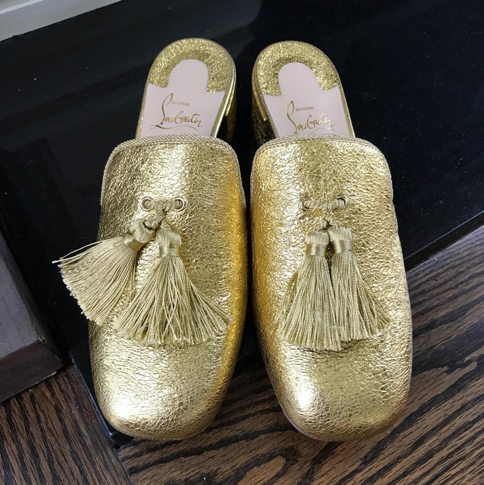 Barry On Slip Louboutin Loafers Mules Christian Slides Gold pxP4O6