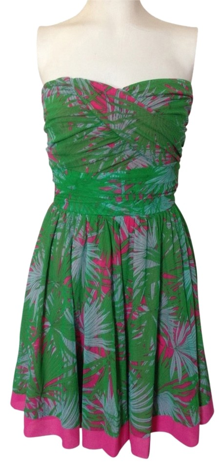 387c07b39ee Juicy Couture Green Pink Tropical Strapless Above Knee Short Casual ...