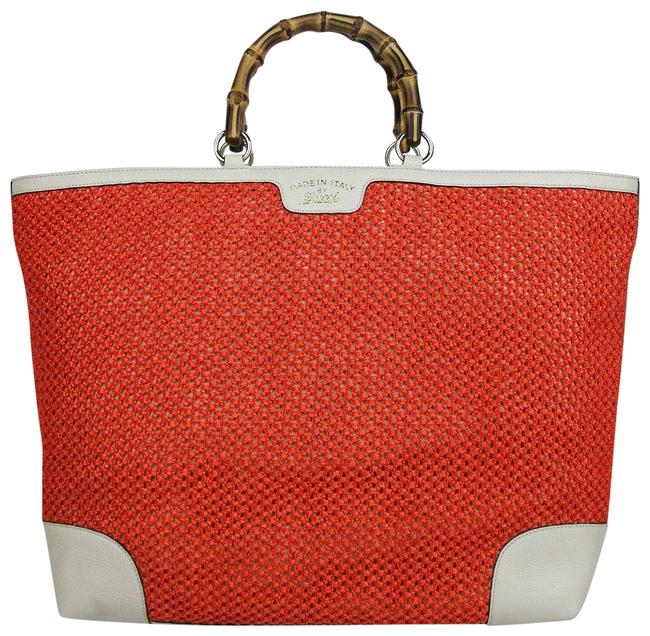 Item - Top Handle Bamboo 338964 6273 Orange Straw / Leather Tote