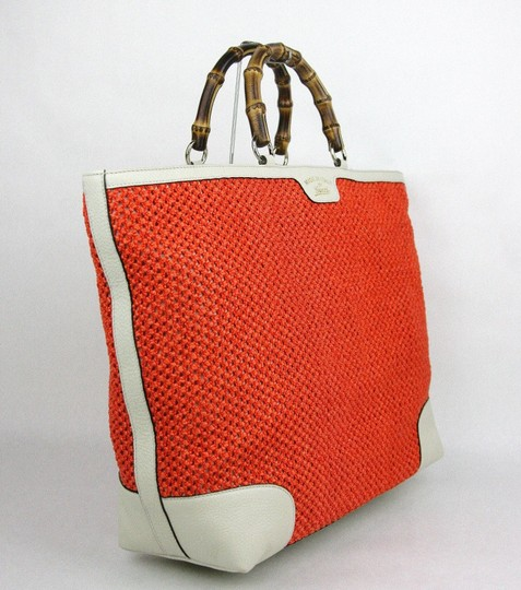 Gucci Top Handle Bamboo Straw Tote in Orange Image 1