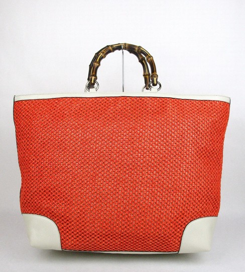 Gucci Top Handle Bamboo Straw Tote in Orange Image 2