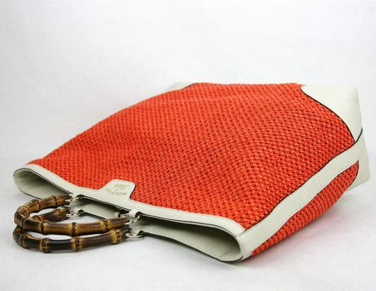 Gucci Top Handle Bamboo Straw Tote in Orange Image 3