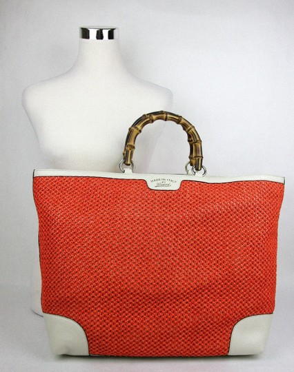 Gucci Top Handle Bamboo Straw Tote in Orange Image 6