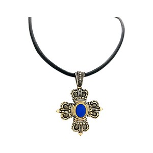 Konstantino CONS-109 TRIBAL CROSS STERLING SILVER NECKLACE WITH A CABOCHON SAPPHIR