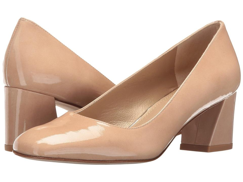 4e8bfb82849 Stuart Weitzman Patent Leather Chunky Mid Heel Nude Pumps Image 9.  12345678910