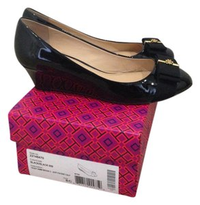 Tory Burch Trudy Leather Bow Flat Black with Gold Hardware Wedges