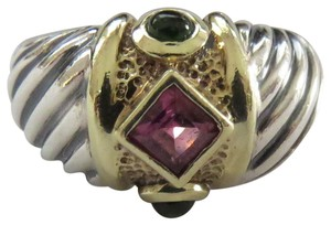 David Yurman SS/14k Renaissance Sculpted Cable Dome with Pink and Green Tourmaline