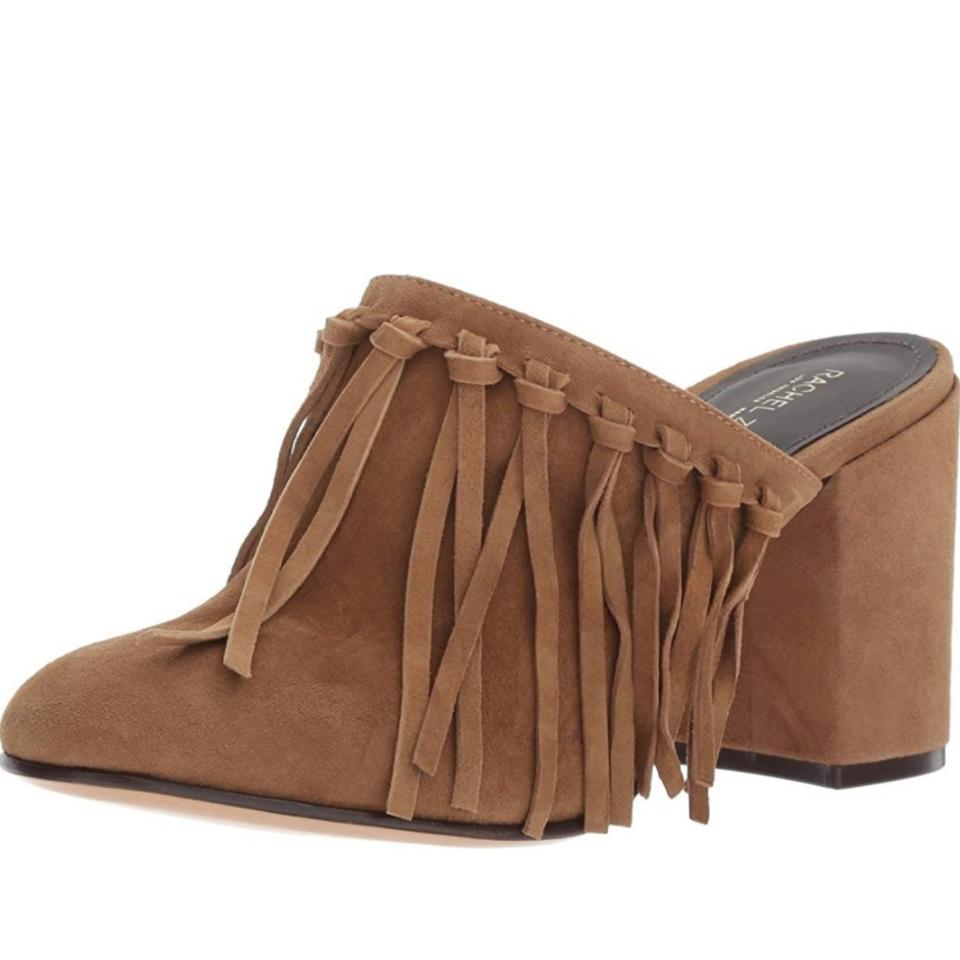 Rachel Block Slides Kingston Fringe Zoe Brown Mules Suede Heel rZxarqHBw
