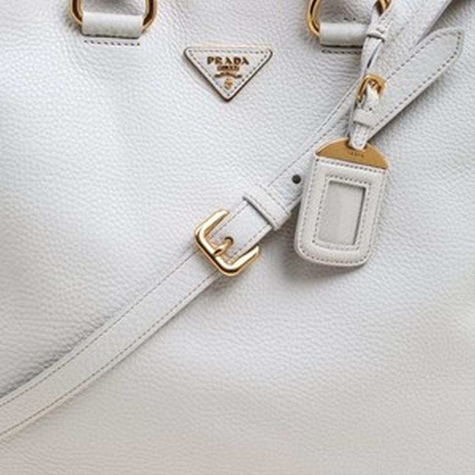 Tote Prada Shopping Large Nylon White Soft and Leather qZPOwRq0