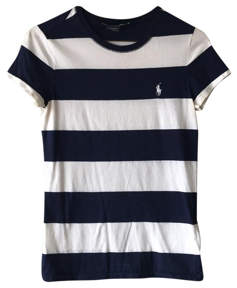 32baa722 Polo Ralph Lauren Navy Blue/White Stripes Cotton Crewneck T-shirt ...