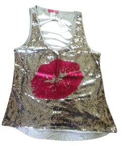 Body Central Sequin Cut Out Back Top Grey/silver
