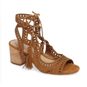 Marc Fisher Brown Suede Tassel Lace Cork Block Heel Sandals