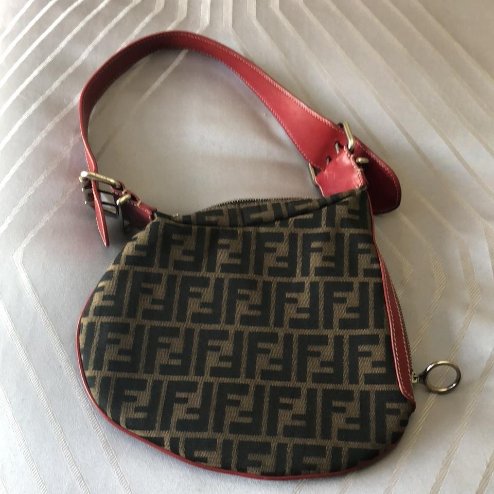 Bag Shoulder Brown Canvas Zucca Oyster Leather Red Tan with Hobo Fendi Strap wqOIPUx