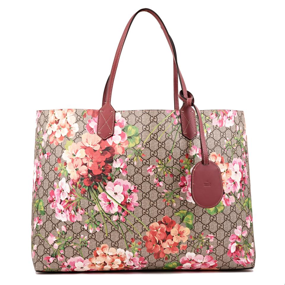 ec6632e9a145 Gucci Large Gg Blooms Reversible Pink Rose Multicolor Supreme Canvas ...