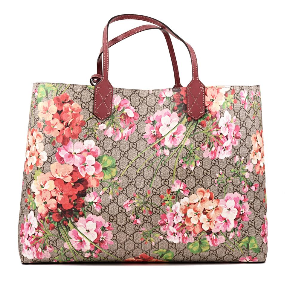 abccf590558 Gucci Large Gg Blooms Reversible Pink Rose Multicolor Supreme Canvas Leather  Tote - Tradesy