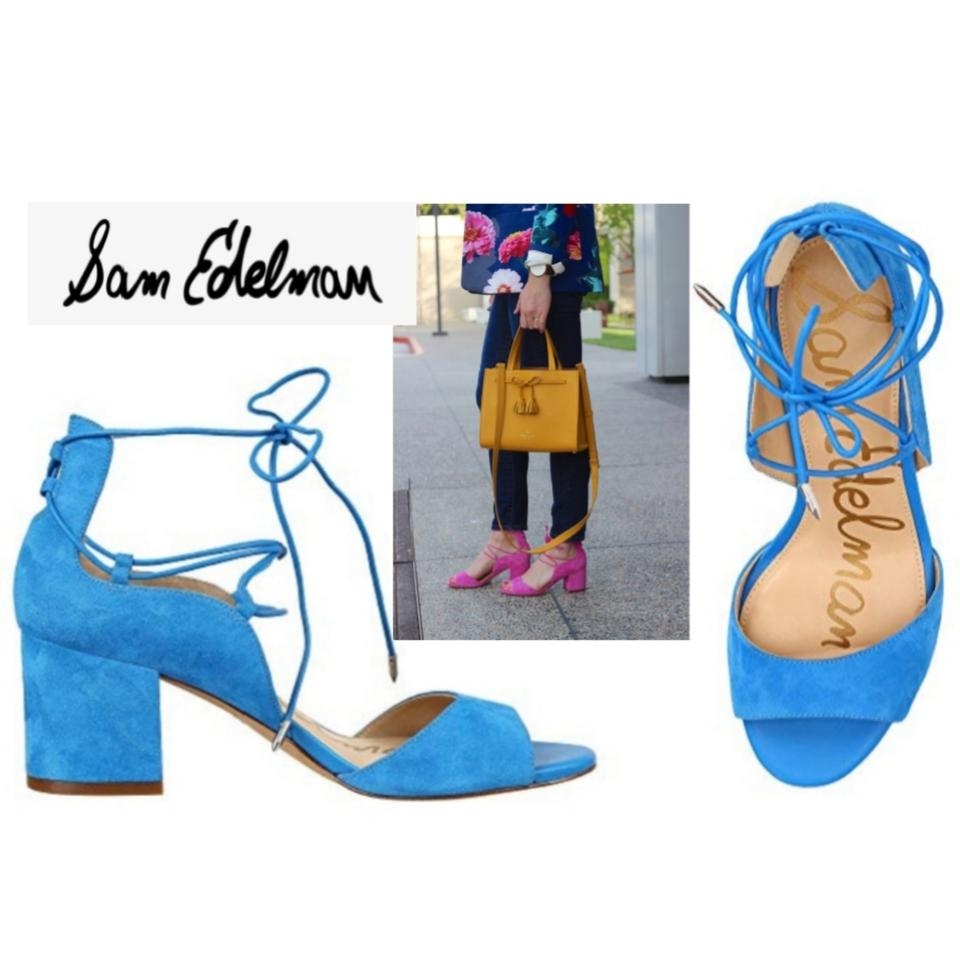 56f3796eaaa3 Sam Edelman Bright Blue Suede Block Heel Lace Up Sandals Size US 8 ...