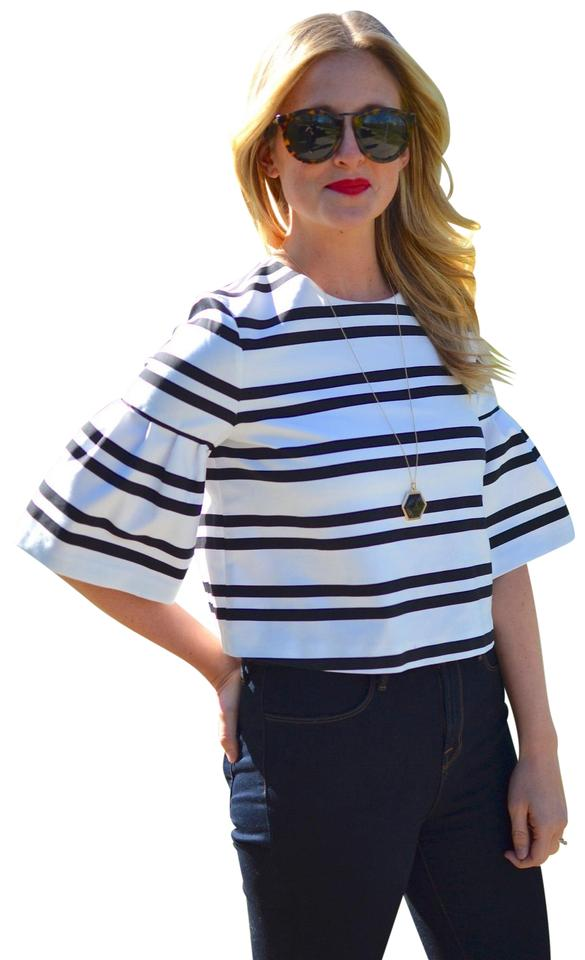 197887d093cfa2 Zara Black & White Striped Bell Sleeve Crop Medium Blouse Size 8 (M ...