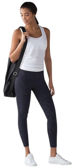 Item - Midnight Blue White New Free To Flow 7/8 Tights Pants High Rise Fleck Activewear Bottoms Size 4 (S, 27)