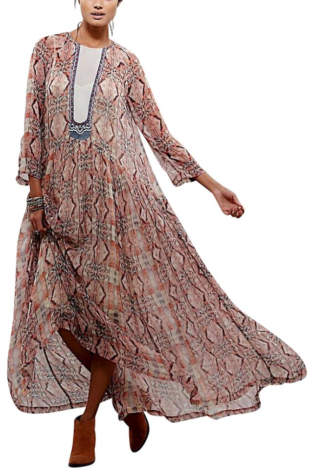 c8cd199206d Free People Red Natural Purple Blue Gray Embroidered Printed Sleeve ...