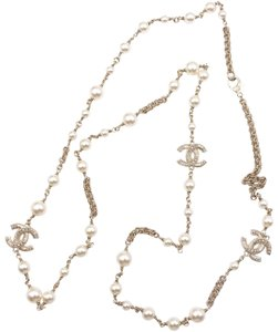Chanel Chanel Gold Texture Mini Pearl CC Faux Pearl Long Necklace