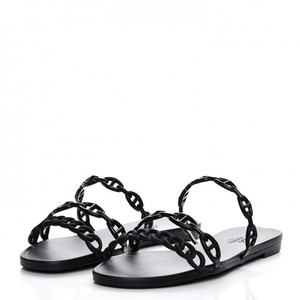 Hermès Rubber D'ancre Rubber Chain D'ancre Black Sandals