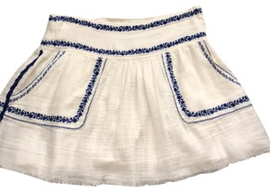 Isabel Marant Mini Skirt off white and blue embroidering