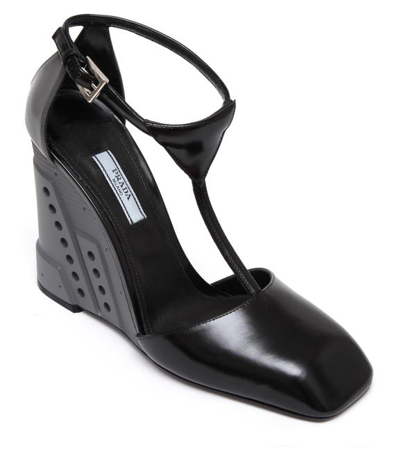 Item - Black Grey Leather T-strap Pump Resin Silver New Wedges Size EU 39.5 (Approx. US 9.5) Regular (M, B)