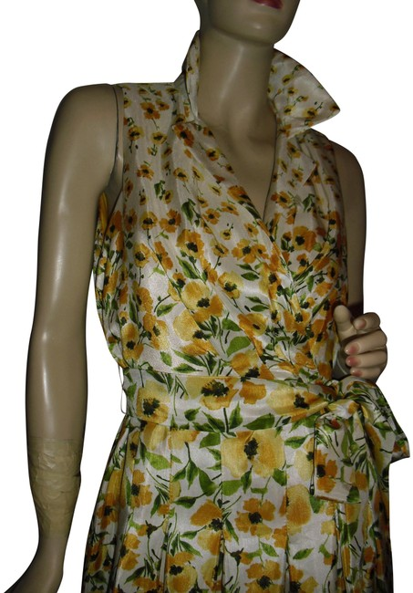 Item - Black-eyed Yellow Poppies Leaf Greens Border Print Draped Pleated Mid-length Short Casual Dress Size 6 (S)