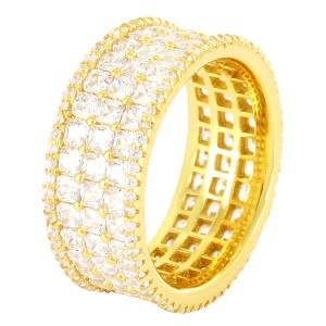 Master Of Bling Men's 14k Gold Finish Princess Cut 3 Row Eternity Wedding Band Ring
