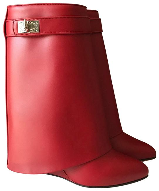 Item - Red Leather Shark Tooth Lock Boots/Booties Size EU 37 (Approx. US 7) Regular (M, B)